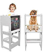 Learning Tower Kitchen Helper Stool Standing Tower Wooden Foldable with Safety Rail and Detachable Drawing Board Learning Tower for Kids Toddlers 18 Months and Older (White)