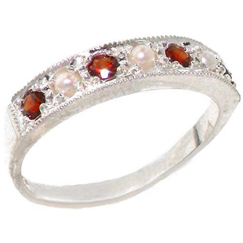 - 925 Sterling Silver Cultured Pearl and Garnet Womens Band Ring - Sizes 4 to 12 Available