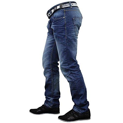 Gamba Crosshatch Gratis Waschen Con Cintura Marca Dritta Mitte Uomo Jeans Denim Di Regular Cotone rPEPS