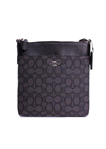 COACH Women's Signature Messenger Crossbody Silver/Black Smoke/Black One Size Cross Body Messenger Handbag