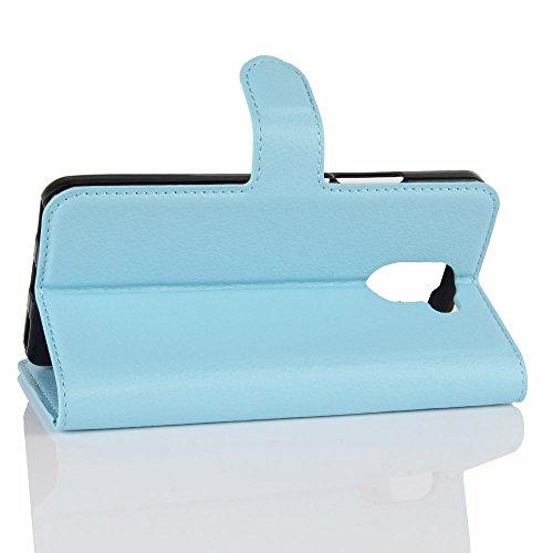 Lusee® PU Caso de cuero sintético Funda para Wileyfox Swift 2X 5.2 Pulgada Cubierta con funda de silicona marrón azul