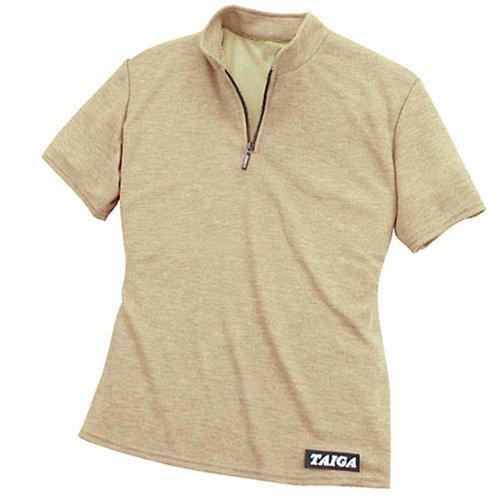 "TAIGA Women's Polartec PowerDry Polo Zip-T - Quick Dry Polo T-Shirt, MADE IN CANADA, 10 (bust: 38""), Khaki"