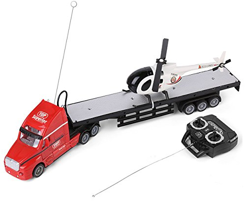 SumacLife Full Function Remote Controlled Red Big Rig Flatbed Hauler RC Toy with Black and White Helicopter Chopper (Helicopter Full Function Rc)