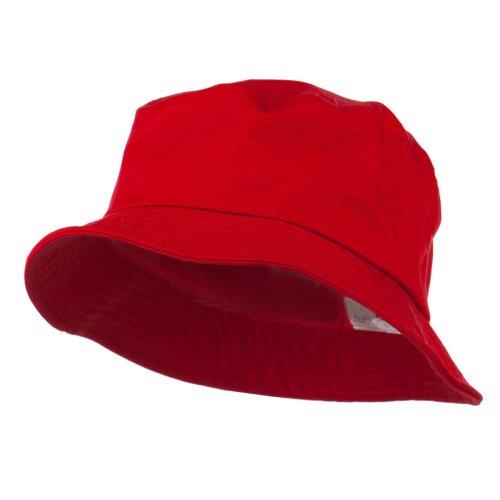Big Size Cotton Blend Twill Bucket Hat - Red XL-2XL