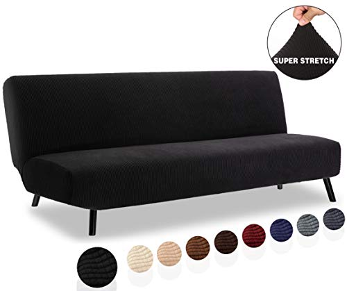 TIANSHU Armless Sofa Cover, Stretch Sofa Bed Cover , Anti-Slip Protector for Couch Without Armrests, Spandex Jacquard Fabric Slipcover Futon Cover (Futon, Black)