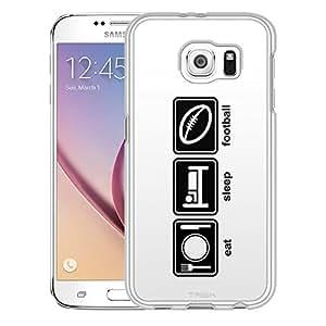 Samsung Galaxy S6 Case, Slim Snap On Cover Eat Sleep Football on White Case