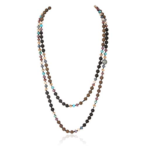 - Long Statement Necklace - Handmade Knotted Endless Beads Strand Versatile Lariat Multi Layer Infinity Wrap 60