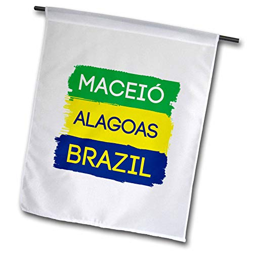 3dRose Alexis Design - Brazilian Cities - Maceio, Alagoas National Colors Patriot Brazil Home Town Design - 12 x 18 inch Garden Flag (fl_311939_1)