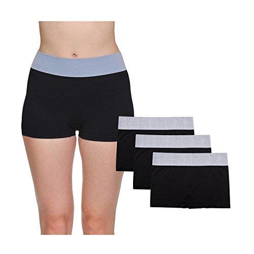 Boys In Panties (LastFor1 Women's Breathable Underwear Boyshorts Panties Briefs Plus Size 3 Pack Black L)