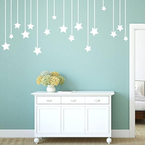 Elephant Mural Wood (YJYdada Pendant Stars Decal Living Room Bedroom Vinyl Carving Wall Decal Sticker (White))