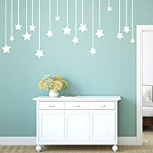 YJYdada Pendant Stars Decal Living Room Bedroom Vinyl Carving Wall Decal Sticker (White)