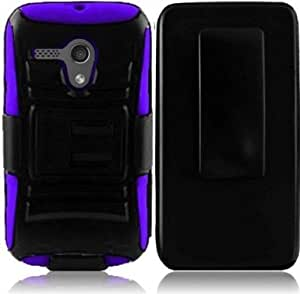 VMG 3-In-1 Combo for New Motorola MOTO G (Dec 2013 Version) cell phone Hybrid PC+Silicone Built-In Kickstand Case with Compatible Belt Clip Holster Cover - Purple + LCD Clear Screen Saver Protector
