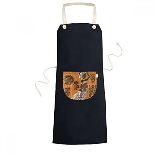 Black Women Totems African Sexy Aboriginal Cooking Kitchen Black Bib Aprons With Pocket for Women Men Chef Gifts by DIYthinker