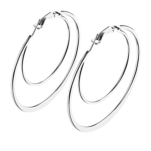 Moniya Women Fashion Earrings Hypoallergenic White Gold or 18k Gold Plated Double Circles Hoop Earrings (Double White Gold Hoop)