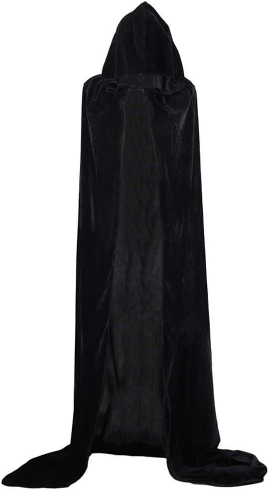 Westeng Largo Capa de Halloween Negro Capa con Capucha Disfraz de Caballero Deluxe Fiesta Disfraces para Mujeres Hombres Size XXL-170cm