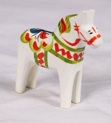 Traditional Wooden Swedish Dala Horse - White 1