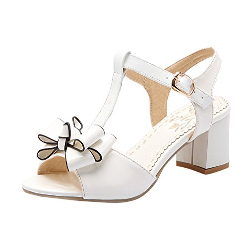 n Faux Patent-Leather Cute Bow Peep-Toe Mid Chunky Heel T-Strap Casual Dress Sandals (6, White) ()