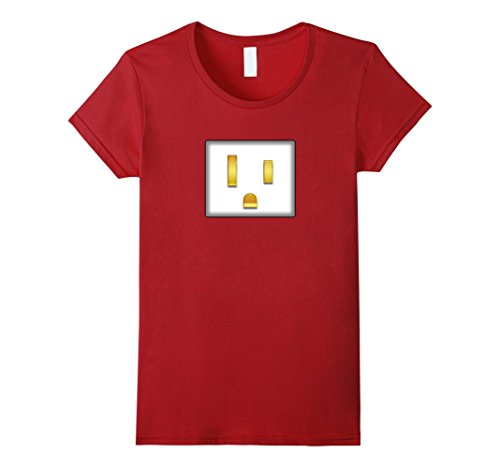 Womens Electrical Plug To Match Outlet Simple Couples Halloween Tee Small (Couple Halloween Costumes Plug And Outlet)