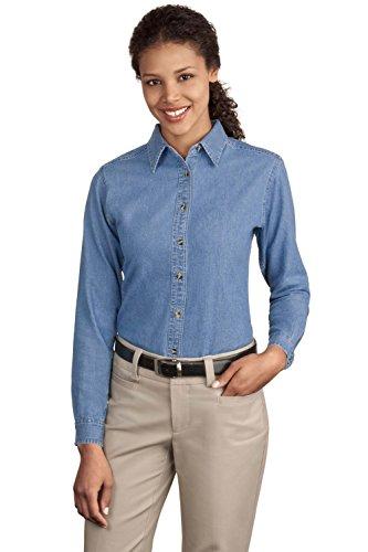 Port & Company Women's Long Sleeve Value Denim Shirt XL Faded Blue