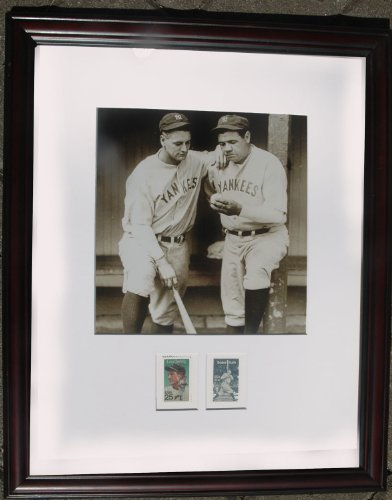 framed 11x14 photo c1935 babe ruth & lou gehrig us postage stamp (Babe Ruth Photograph)