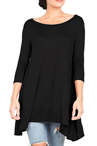 T2411PX 3/4 Sleeve Round Neck Relaxed A-Line Tunic T Shirt Top Black (Love Black 3x T-shirt)