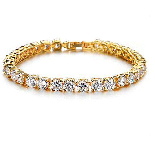 Ananth Jewels Somma Made with Swarovski Zirconia Solitaire Yellow Gold Plated Tennis Bracelet for Women by Ananth Jewels Somma
