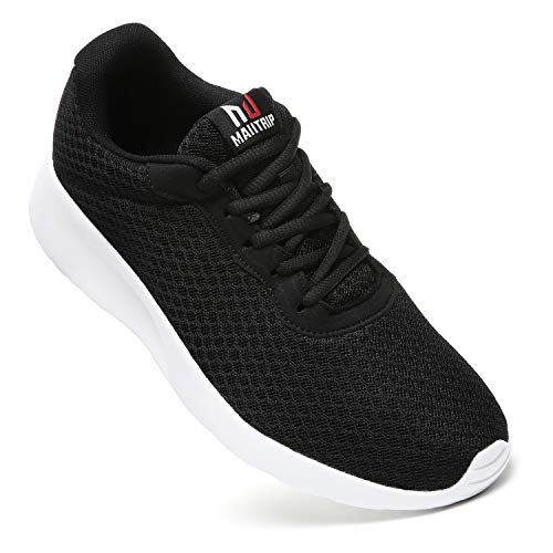 MAITRIP Mens Gym Shoes,Athletic Running Shoes,Lightweight Breathable Mesh Casual Tennis Sports Workout Walking Sneakers,Black/White,Size -