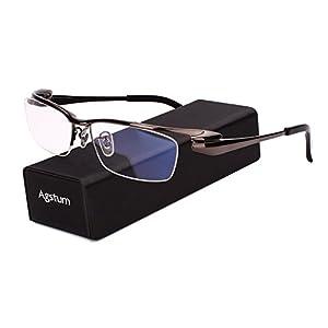 Agstum Pure Titanium Half Rim Optical Business Glasses Frame Clear Lens (Gray, 57)