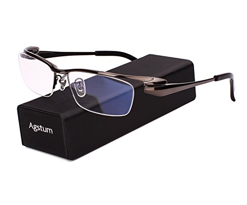 Agstum Pure Titanium Half Rim Optical Business Glasses Frame Clear Lens (Gray, - Nickel Eyeglass Free Frames