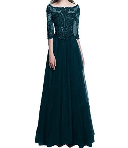 Langes A Blau Dunkel Abendkleider Damen Linie Spitze Promkleider Festlichkleider Damenrock 2 Langarm Ballkleider Charmant qR8tna7q
