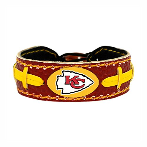 Kansas City Chiefs Team Color NFL Gamewear Leather Football Bracelet Leather Nfl Bracelets