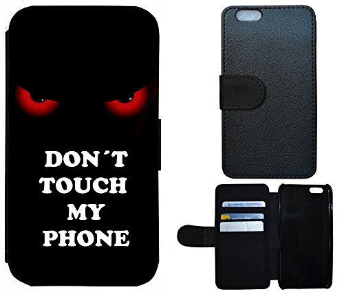 Schutz Hülle Flip Cover Handy Tasche Etui Case für (Apple iPhone 4 / 4s, 2002 Don´t Touch My Phone Rot Schwarz)