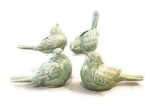 Small Bird Figurines, Blue/Green, set of 4
