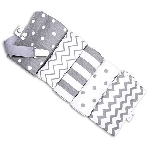 CuddleBug Baby Burp Cloths | Grey/White, Spots/Stripes, 16