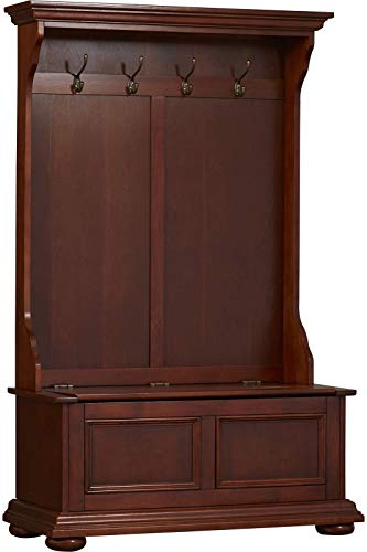 Tall Wood Cabinet Storage Bench Rustic Country Side Coat Rack 4 Hooks Clothes Hanging Tie Hat Cap Seat Entryway Mudroom Furniture