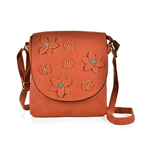 SALLY Flower YOUNG Bag High PU Foldover Women Body Orange Leather Fashion Decoration Quality Cross 88drqW