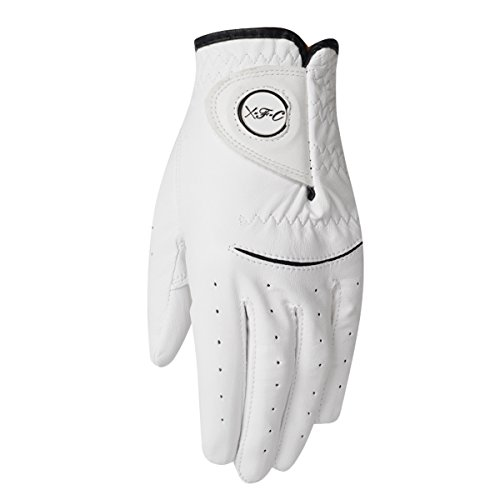 Wear Resistant (Men's & Women's Top Compression-Fit Stable-Grip 100% Cabretta Leather Golf Glove, Super Soft, flexible, Wear Resistant and Comfortable, White (XXL, Worn on left hand))