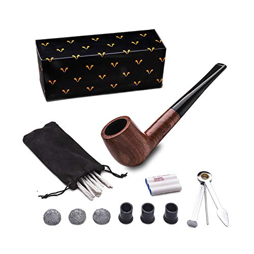 Tobacco Pipe Set, Free Boy Handmade Wooden Straight Stem Smoking Pipe with Accessories (Filter Elements, Filter Balls, 3 in 1 Scraper, Pipe Cleaners, Pipe Tip Grips, Bag, Box) (Wooden Pipe Tobacco Tips)