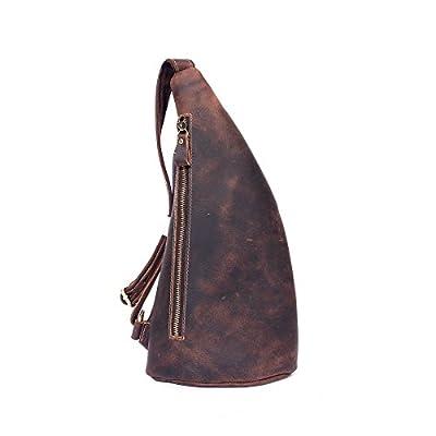 low-cost Mayshe Vintage Genuine Leather Cross Body Sling Bag Chest Outdoor Shoulder Bag for Men