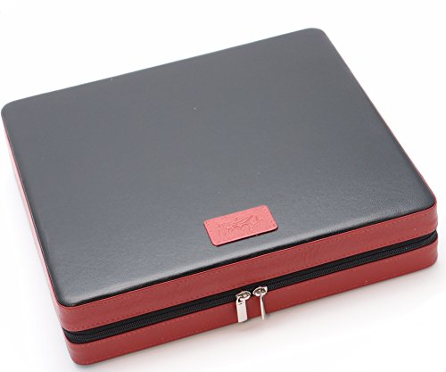 Travel Cigar Humidor Box Great Carry Along - Authentic Soft Cow Leather - Black+Tan by Mrs. Brog