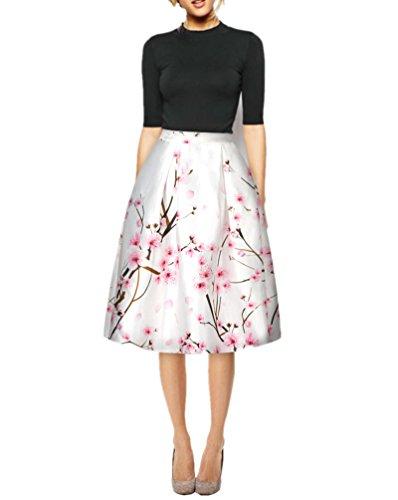 FUNCOS Women's Digital Print High Waisted A-Line Pleated Vintage Midi Skirts