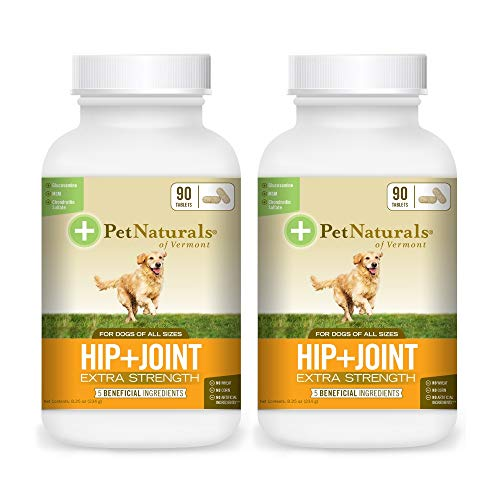 Pet Naturals of Vermont - Hip + Joint Extra Strength, Joint Supplement for Dogs, 90 Chewable Tablets (Hip + Joint Extra Strength, 2 Pack)