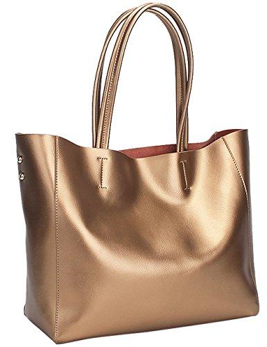 Menschwear Sac à main en cuir véritable avec sac à bandoulière 2 pièces Bleu Or
