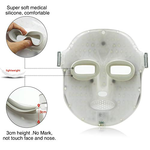NEWKEY Led Light Therapy Facial Mask - Uses Newest Red / Blue / Yellow Light Therapy For Skin Rejuvenation | Whitening|Anti Aging | Smoothening Wrinkles | Weakening Scarring | Lighter Weight And More Comfortable by NEWKEY (Image #4)