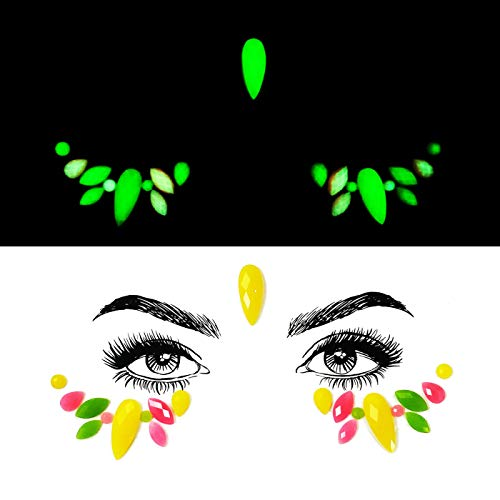 Colorful Glowing Sexy Goddess Face Sticker,Artificial Jewels Glitter Gems Sticker adhesive on Your Face Edition Sticker Crystals Decorations For Halloween/Christmas/Graduation Party/Prom (YG-15) ()