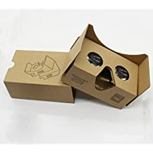 F&U ® Google Cardboard Vr 2 3d Virtual Reality Compatible with Android & Apple Easy Setup Instructions Machine Cut Quality Construction 45mm Lenses Hd Visual Experience Includes Qr Codes