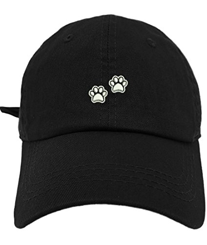 TheMonsta 2 Dog Paws Style Dad Hat Washed Cotton Polo Baseball Cap (Black)