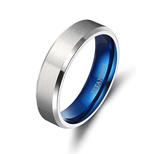 TIGRADE 4MM/6MM/8MM/10MM Unisex Titanium Wedding Band Rings in Comfort Fit Matte Finish for Men Women (Blue 6mm, 13)