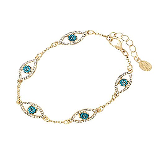 Sterling Forever - 14K Gold Plated Evil Eye Bracelet with Cubic Zirconia Stones (Choose Your Own Color) (Aqua)