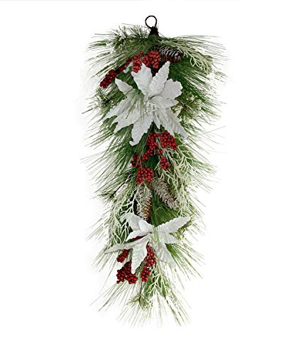 Christmas Tear Swag Decoration Grand Pine Needle Berry Poinsettia Elegant Christmas Door Tear Swag Classic Family Xmas Swag Unlit 32'